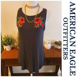 American Eagle Embroidered Rose Tank Top Shirt